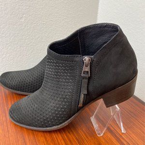 Lucky Brand Black Leather Perforated Booties 9 1/2